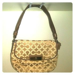 Coach nuetral beige brown purse